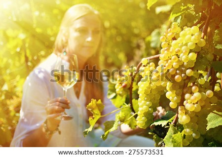 Girl in the vineyards. Lavaux, Switzerland - stock photo