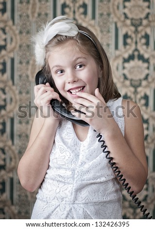 girl in the white make phone calls - stock photo