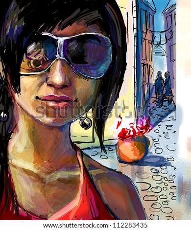 Girl in Venice - stock photo