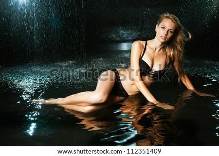 girl in water studio - stock photo