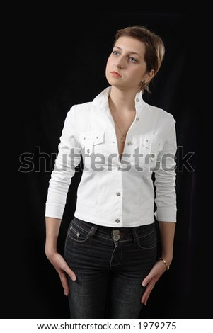 Girl in white cloth on black background