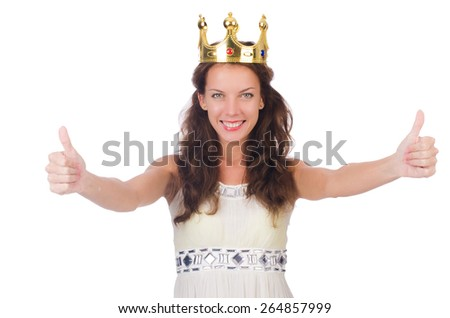 Girl in white dress and crown isolated on white - stock photo