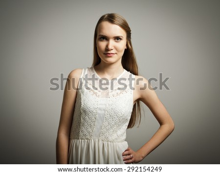 Girl in white. Portrait of a young woman. - stock photo