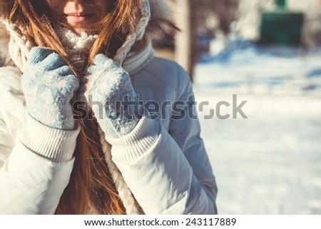 girl in winter - stock photo