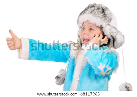 Girl in winter clothes speaks by phone and shows sign OK over white background - stock photo