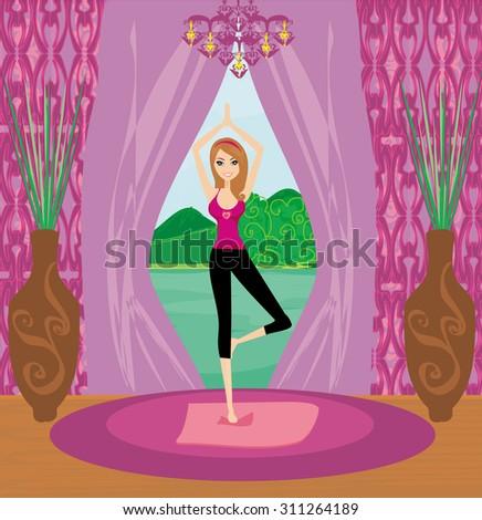 Girl in Yoga pose - stock photo