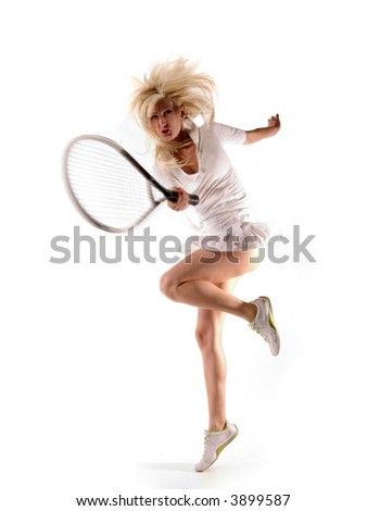 girl is accomplishing a point in jump - stock photo