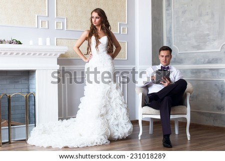 Girl is angry at her boyfriend - stock photo