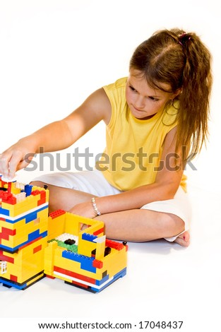 Girl is building house of dream