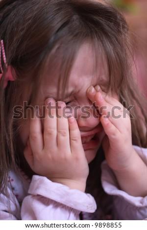 girl is crying - stock photo