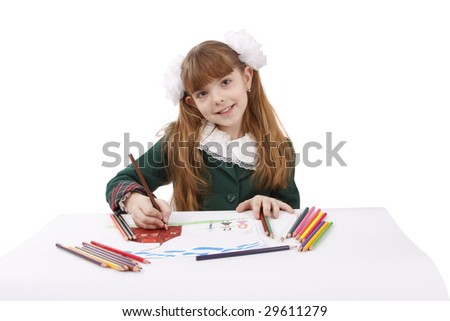 Girl is drawing  in pencil. Schoolgirl is painting her family in bright colours. Isolated over white background. - stock photo