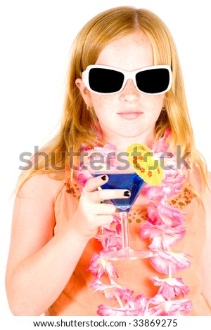 girl is drinking a blue cocktail wearing sunglasses isolated on white - stock photo