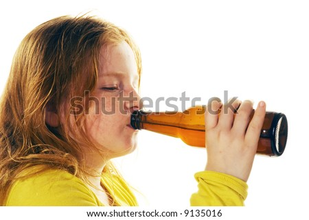 girl is drinking beer - stock photo