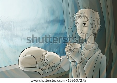 girl is drinking tea and looking out the window. the rain outside the window. cat lying on the windowsill. - stock photo