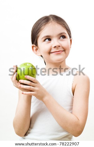 Girl is eating apple