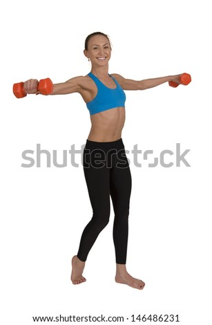 Girl  is  engaged  in  fitness  on  a  white  background