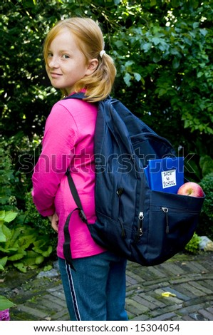 Girl is going back to school - stock photo