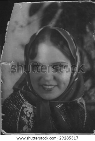girl is in a shawl - stock photo