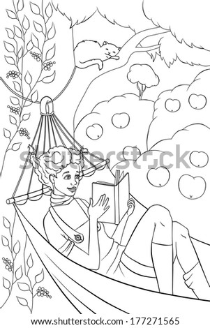 girl is reading book in the hammock in the garden - stock photo