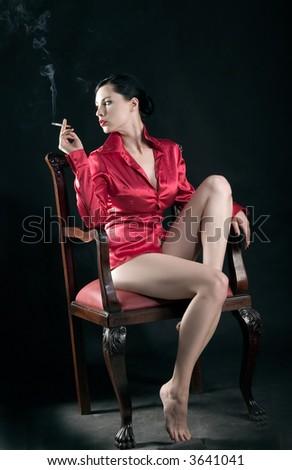 girl is smoking - stock photo