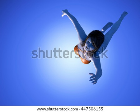 Girl is swimming on a blue background..3d render