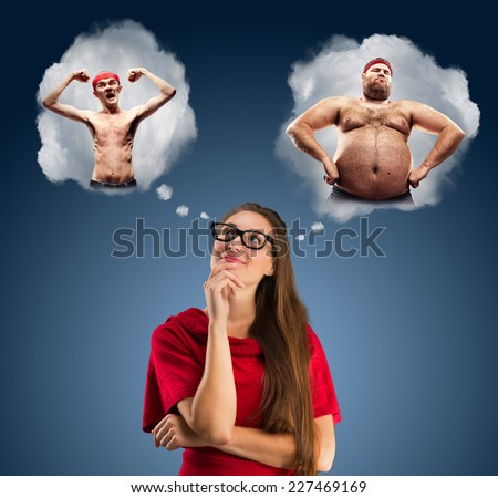 Girl is wondering about men - stock photo