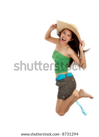 girl jump in excitement - its summer time! - stock photo