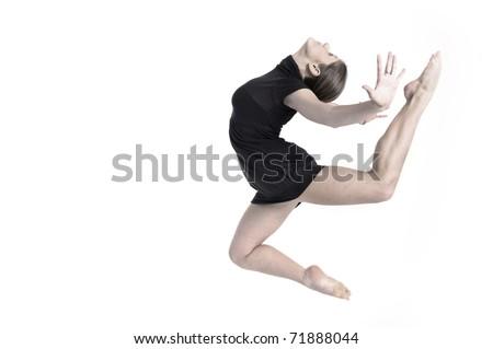 Girl jump over white background. Studio shot. - stock photo