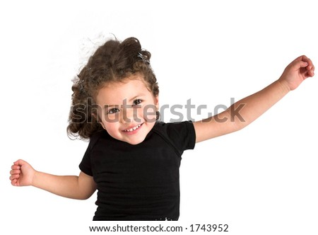 girl jumping in the air over white