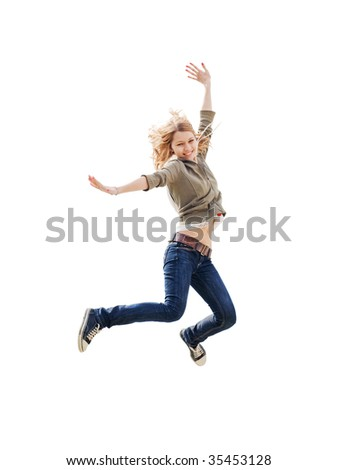 girl jumping isolated - stock photo