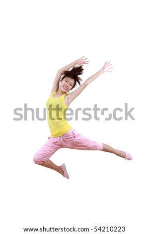 Girl jumping isolated on white background