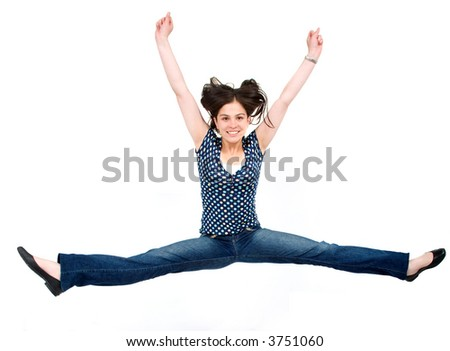girl jumping of joy over a white background