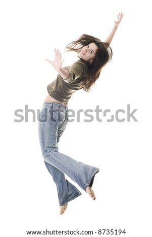 girl jumping over white