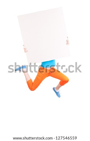 girl jumping with empty board; full length; white background - stock photo