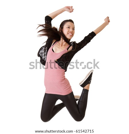 Girl jumping with happy expression, isolated on white. - stock photo