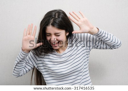 girl laughing much - stock photo
