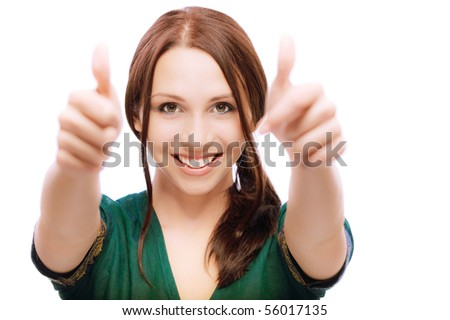 Girl laughs and lifts up thumbs, on white background. - stock photo