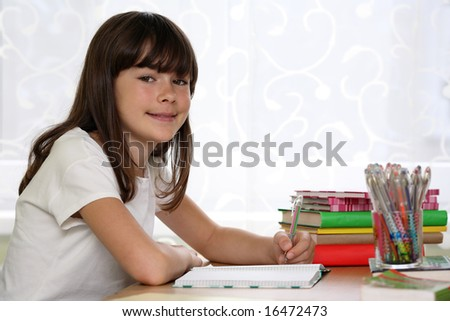 Girl learning - stock photo