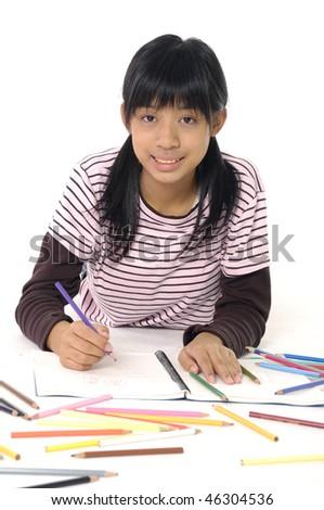 Girl learning - stock photo