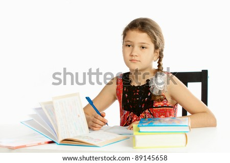 Girl learns a lesson - stock photo