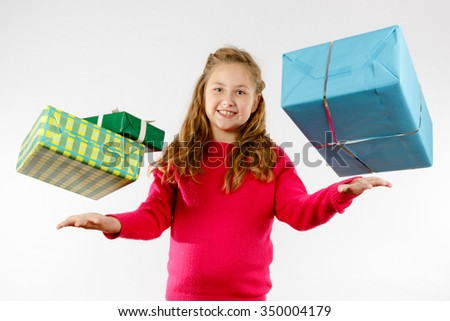 Girl lets presents fell from the sky