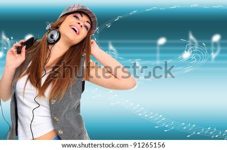 Girl listen music over  a light musical background - stock photo