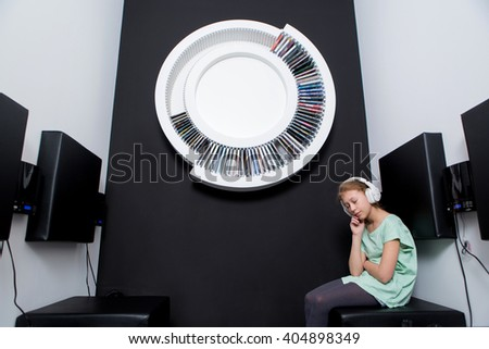 girl listening to music, Concept of audiobook