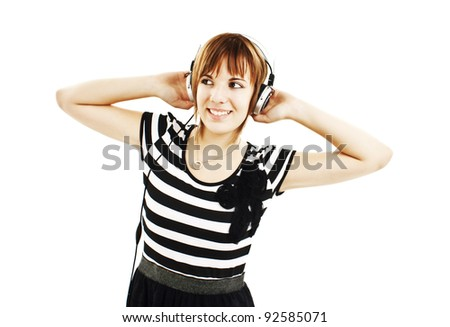 Girl listening to music. Isolated on white background - stock photo