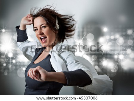 girl listening to supersoundmusic - stock photo