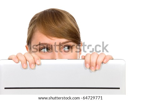 Girl Looking Behind Laptop