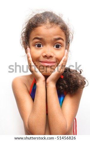 girl looking in wide-eyed astonishment