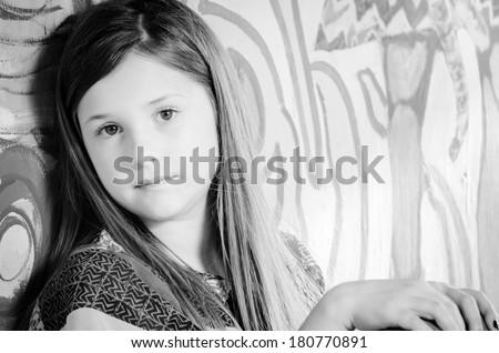 Girl Looking Into Camera  - stock photo
