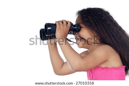 Girl looking through the binoculars a over white background - stock photo