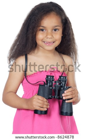 girl looking throuth the binoculars a over white background - stock photo